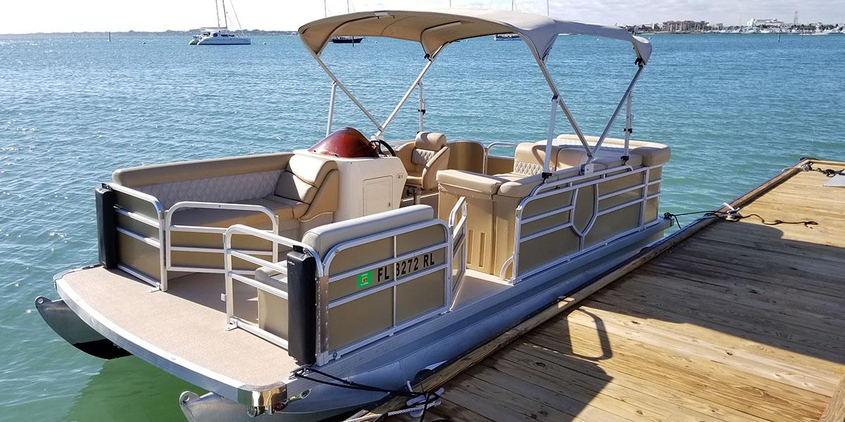 18 Foot Tan Pontoon - Treasure Coast Boat Rentals